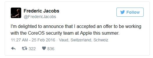 Я рад сообщить, что принял предложение работать с командой безопасности CoreOS в компании Apple этим летом.