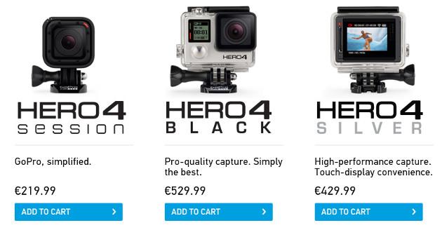 Цены на обновленные камеры GoPro
